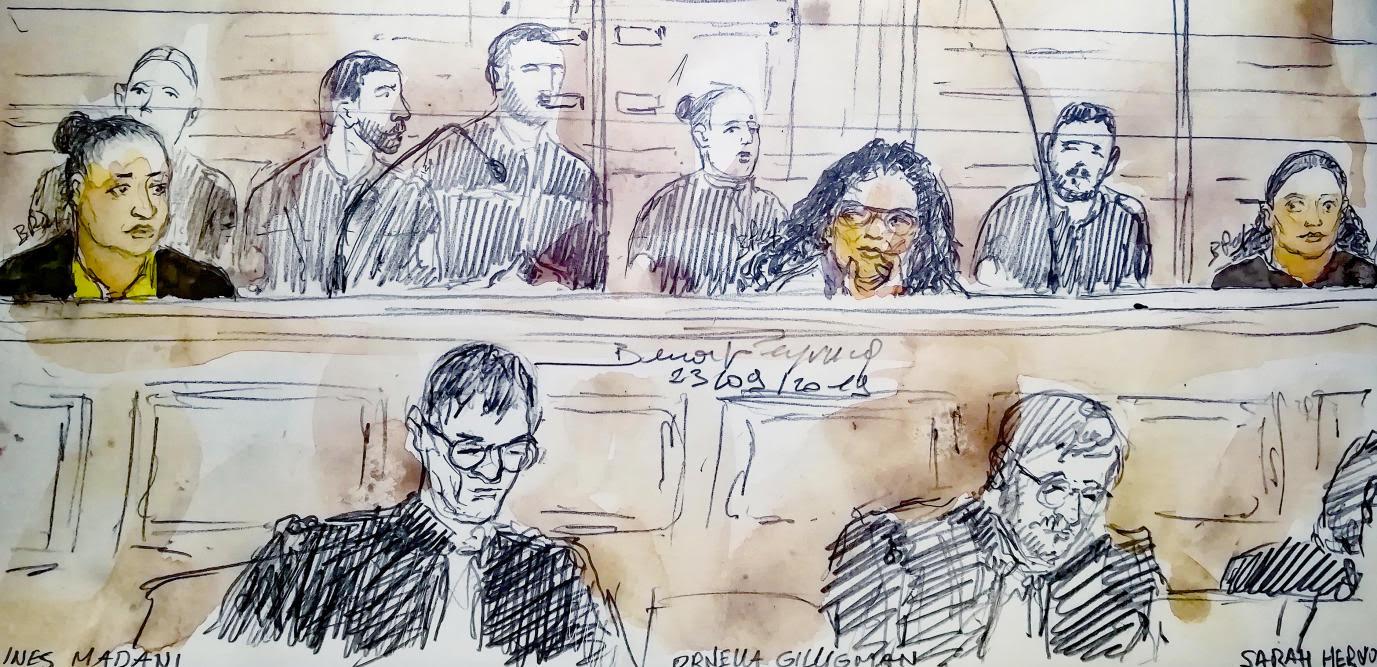 Croquis d'audience lorsdu procès des bonbonnes de gaz à Notre-Dame, le 23 septembre 2019. De gauche à droite : Inés Madani, Ornella Gilligmann et Sarah Hervouët.